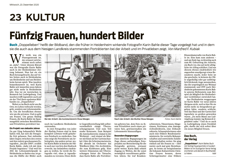 Doppelleben: Artikel aus der Heidenheimer Zeitung vom 23.12.2020